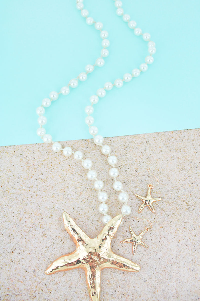 Goldtone Starfish Pendant Pearl Necklace and Earring Set