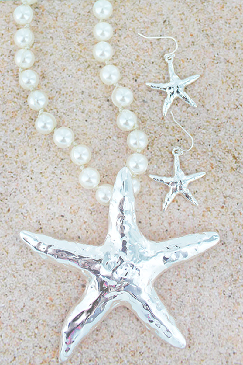 Silvertone Starfish Pendant Pearl Necklace and Earring Set