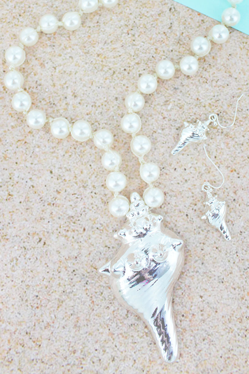 Silvertone Conch Shell Pendant Pearl Necklace and Earring Set