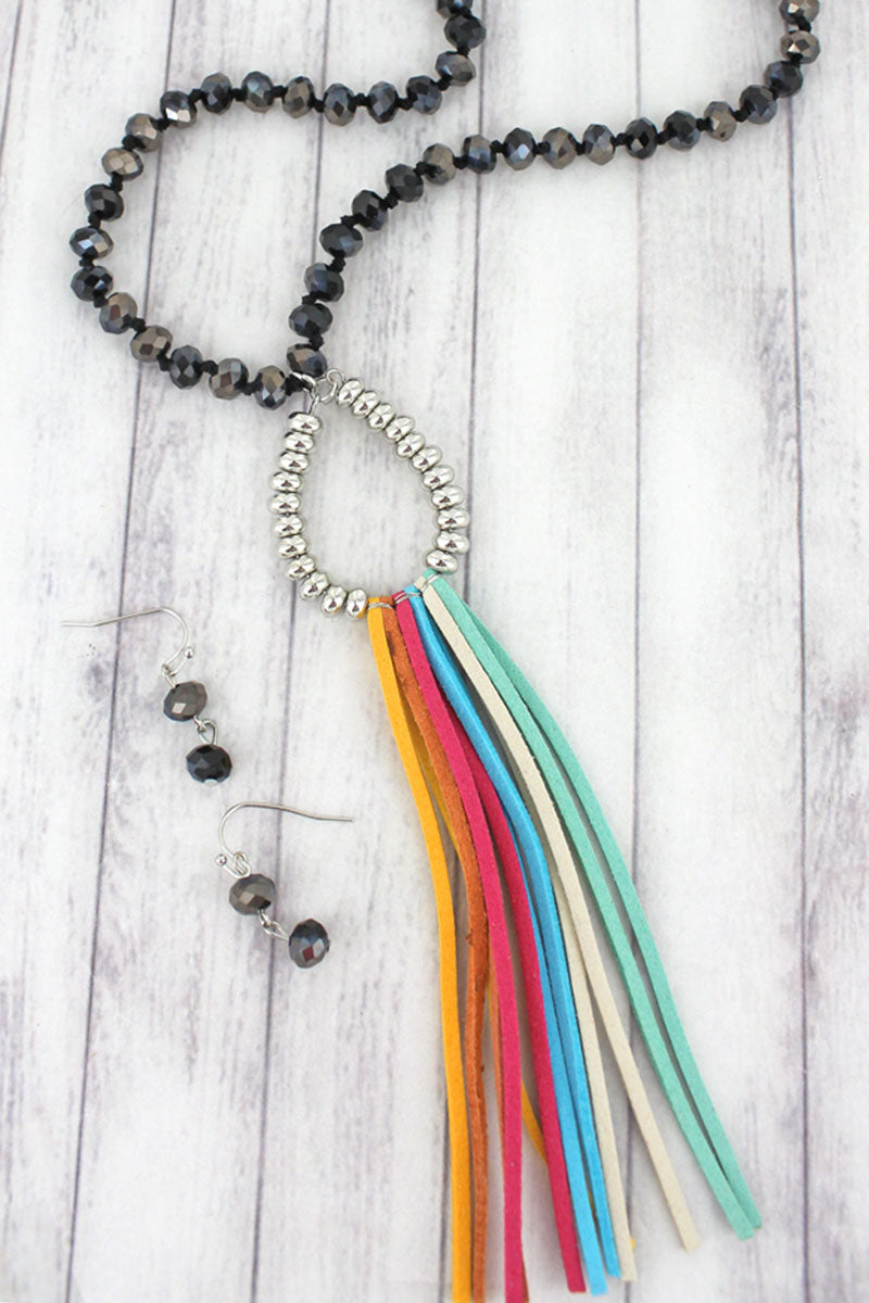 Rainbow and Silvertone Teardrop Tassel Black Beaded Necklace and Earring Set