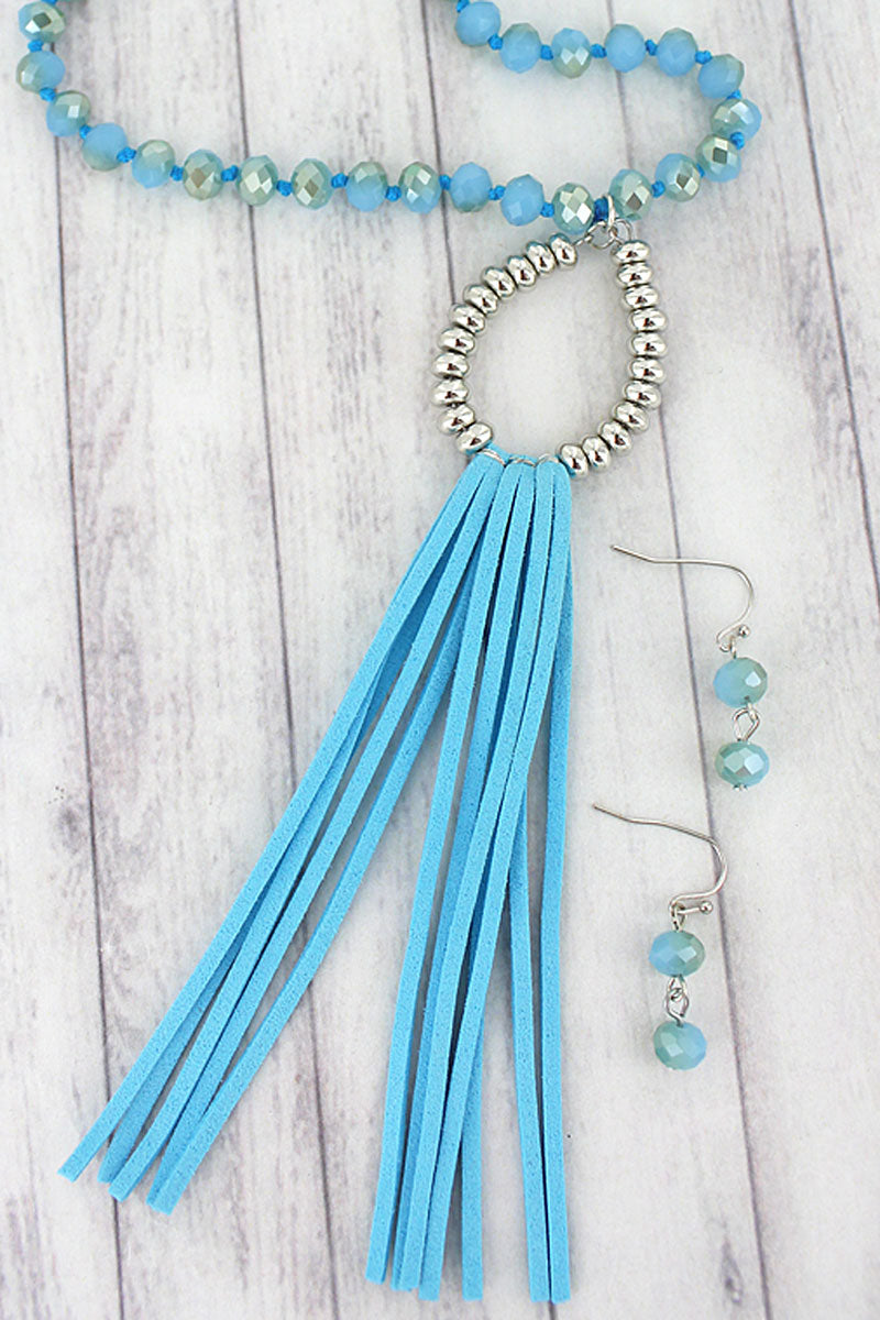 Turquoise and Silvertone Teardrop Tassel Beaded Necklace and Earring Set