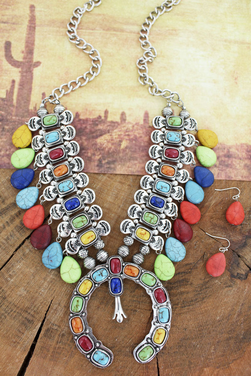 Multi-Color Bead Charm Squash Blossom Necklace and Earring Set