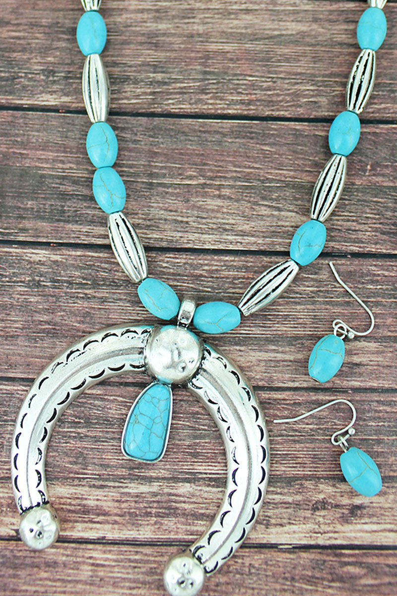 Silvertone and Turquoise Oval Beaded Naja Necklace and Earring Set