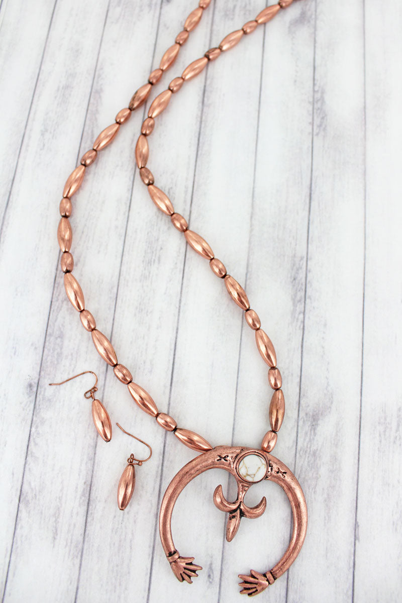 Coppertone with White Stone Naja Beaded Necklace and Earring Set