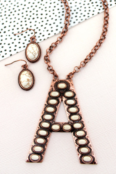 White Beaded Coppertone 'A' Initial Necklace and Earring Set