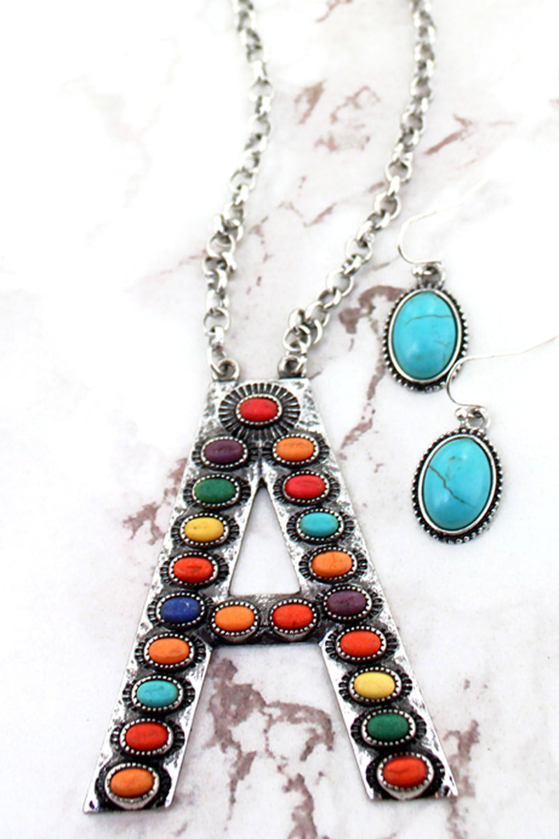 Multi-Color Beaded Silvertone 'A' Initial Necklace and Earring Set
