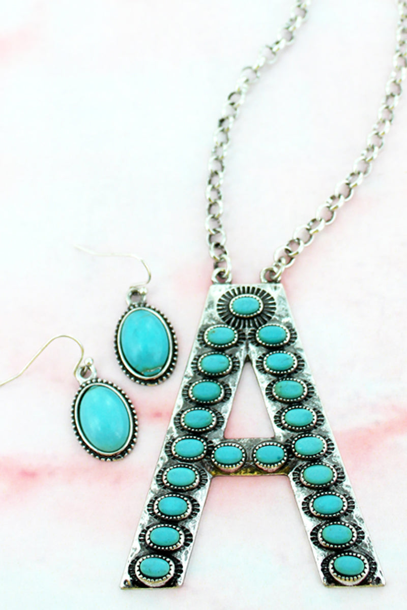 Turquoise Beaded Silvertone 'A' Initial Necklace and Earring Set