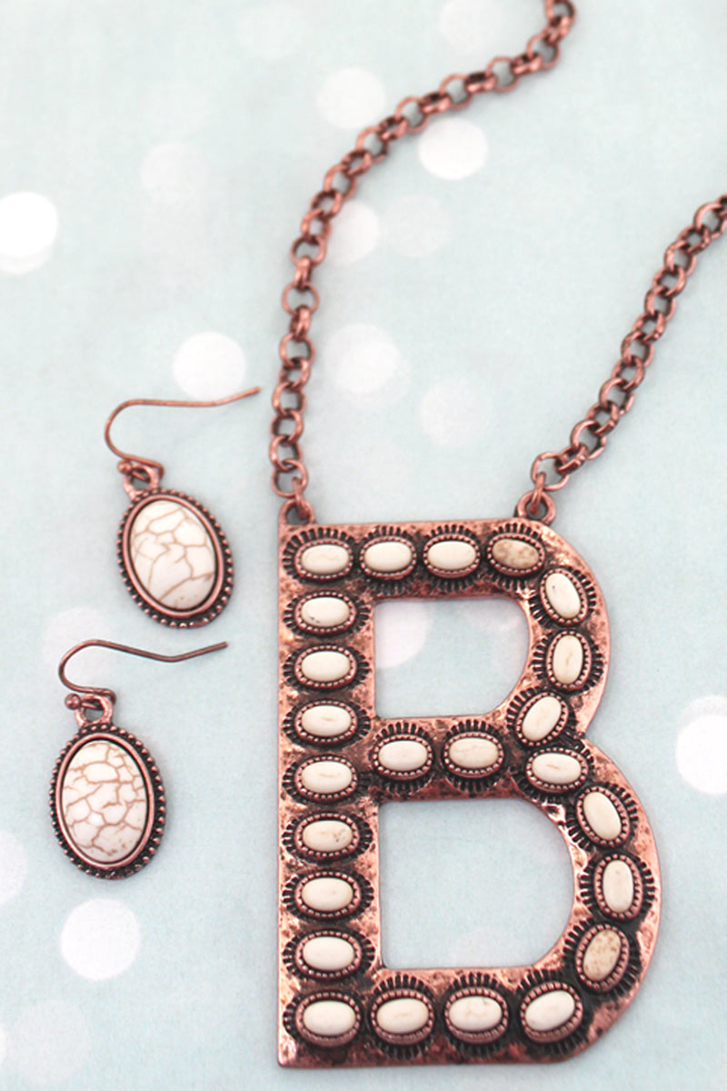White Beaded Coppertone 'B' Initial Necklace and Earring Set