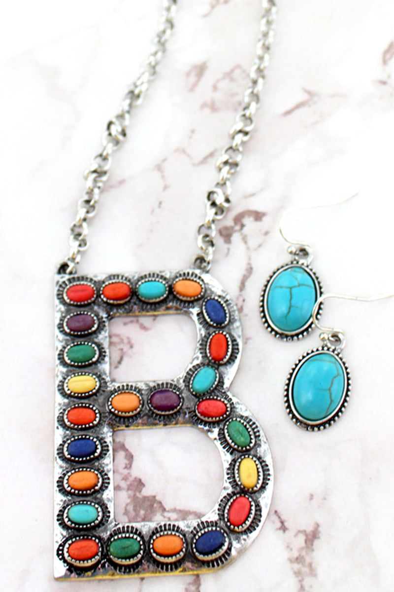 Multi-Color Beaded Silvertone 'B' Initial Necklace and Earring Set