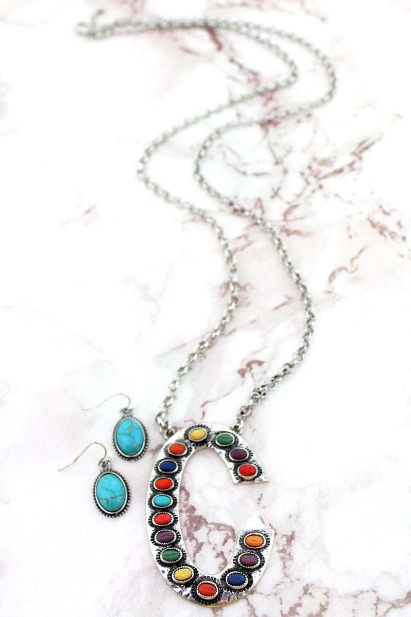 Multi-Color Beaded Silvertone 'C' Initial Necklace and Earring Set
