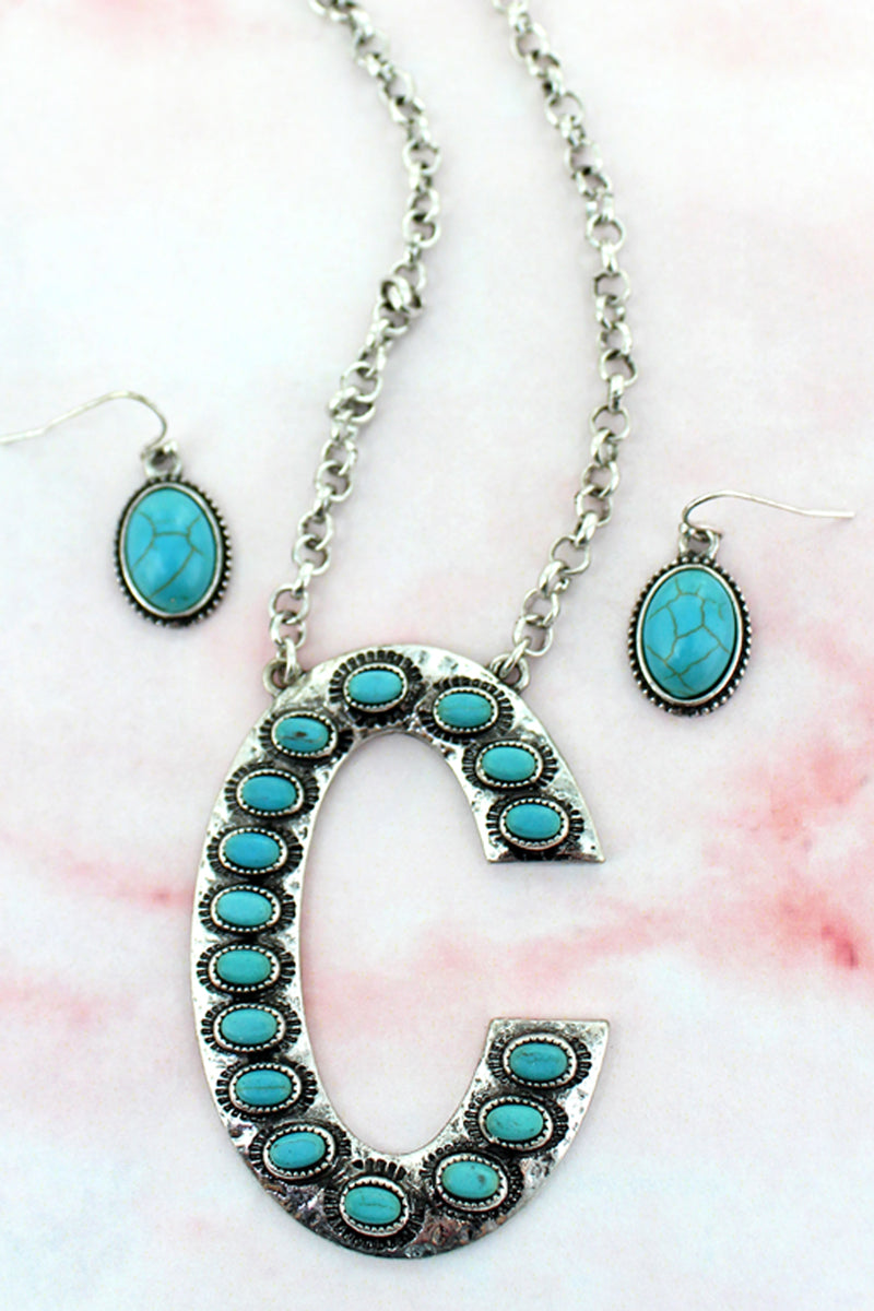 Turquoise Beaded Silvertone 'C' Initial Necklace and Earring Set