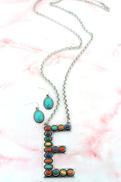 Multi-Color Beaded Silvertone 'E' Initial Necklace and Earring Set
