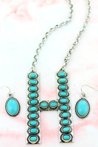 Turquoise Beaded Silvertone 'H' Initial Necklace and Earring Set