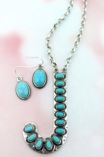 Turquoise Beaded Silvertone 'J' Initial Necklace and Earring Set