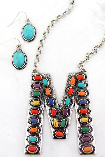 Multi-Color Beaded Silvertone 'L' Initial Necklace and Earring Set