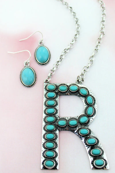 Turquoise Beaded Silvertone 'R' Initial Necklace and Earring Set