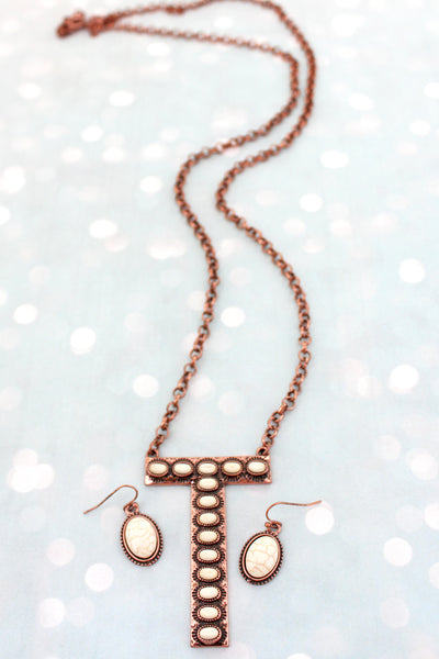 White Beaded Coppertone 'T' Initial Necklace and Earring Set