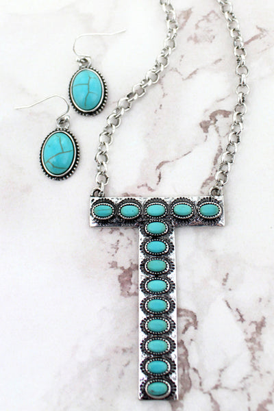Turquoise Beaded Silvertone 'T' Initial Necklace and Earring Set