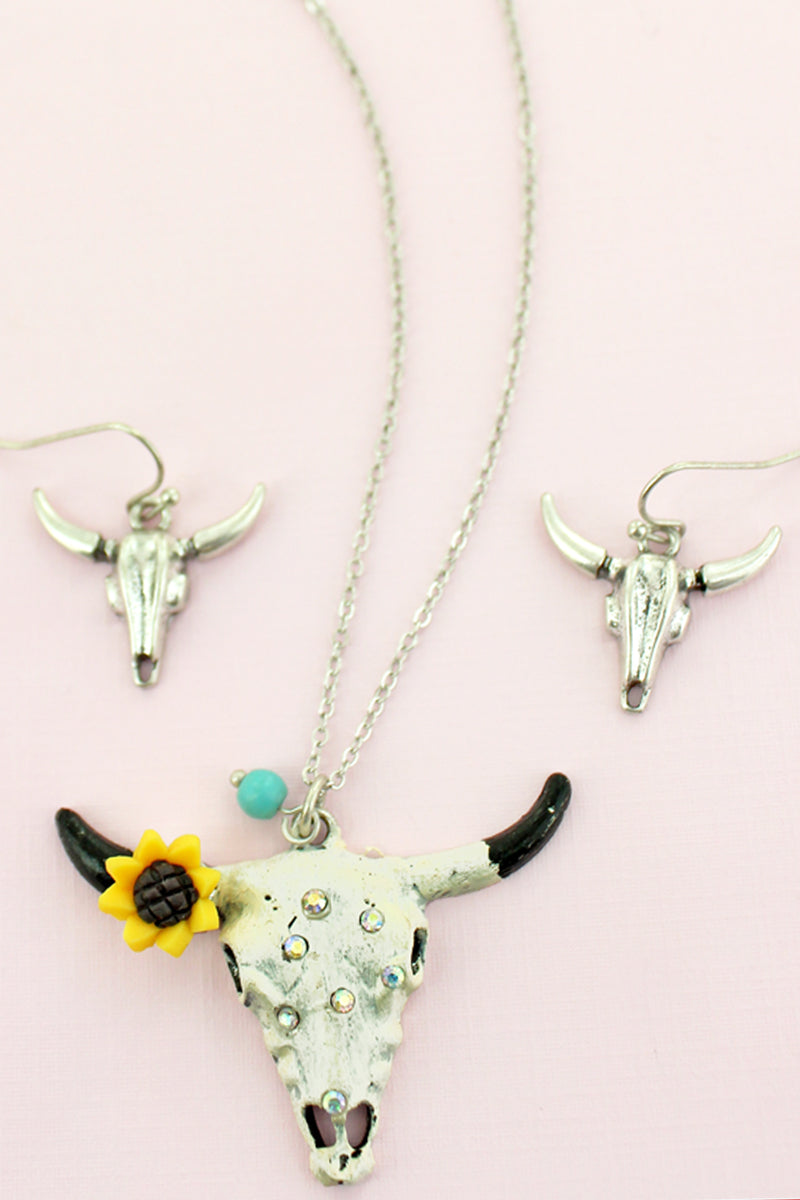 Sunflower and Crystal Accented Ivory Steer Necklace and Earring Set