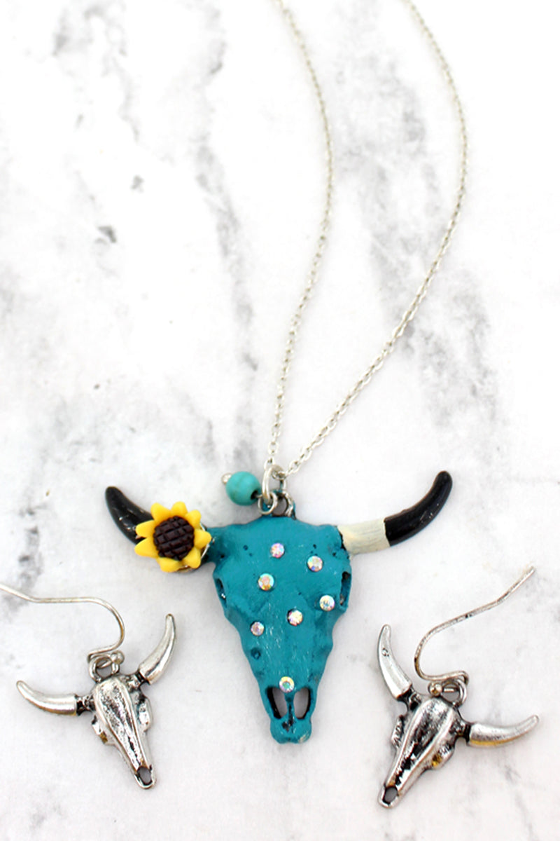 Sunflower and Crystal Accented Turquoise Steer Necklace and Earring Set