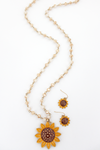 Sunflower Natural Beaded Necklace and Earring Set