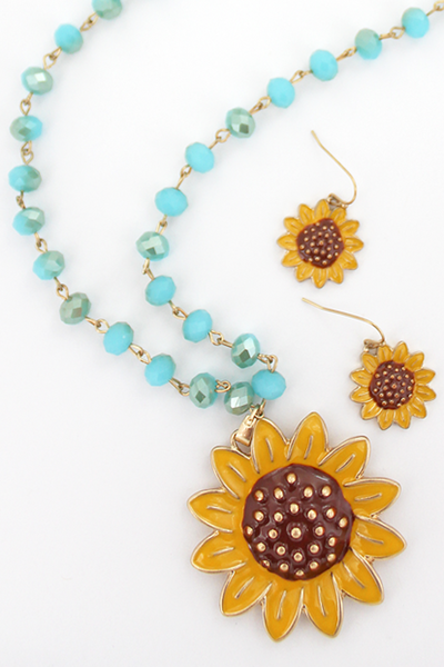 Sunflower Turquoise Beaded Necklace and Earring Set
