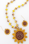 Sunflower Yellow Beaded Necklace and Earring Set
