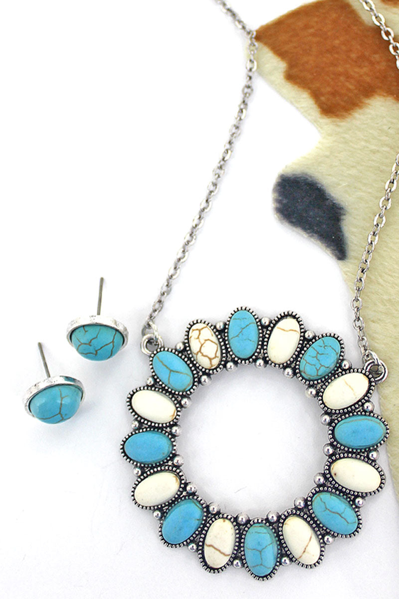 White and Turquoise Saddle Circle Necklace and Earring Set