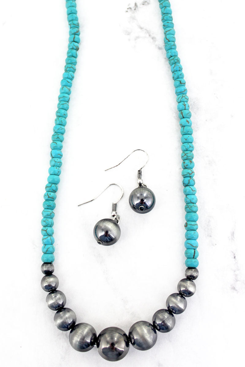 Antelope Point Turquoise and Silver Pearl Necklace and Earring Set