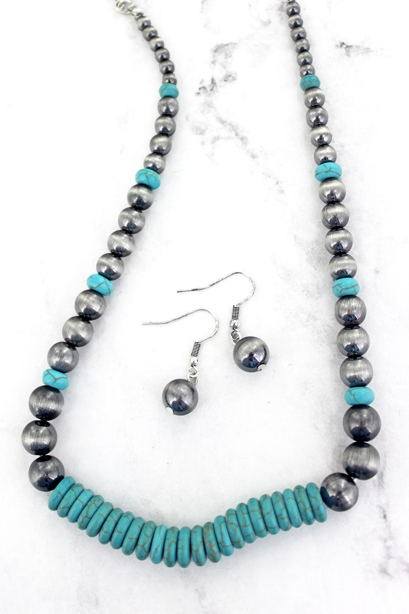 Zion Canyon Turquoise and Silver Pearl Necklace and Earring Set