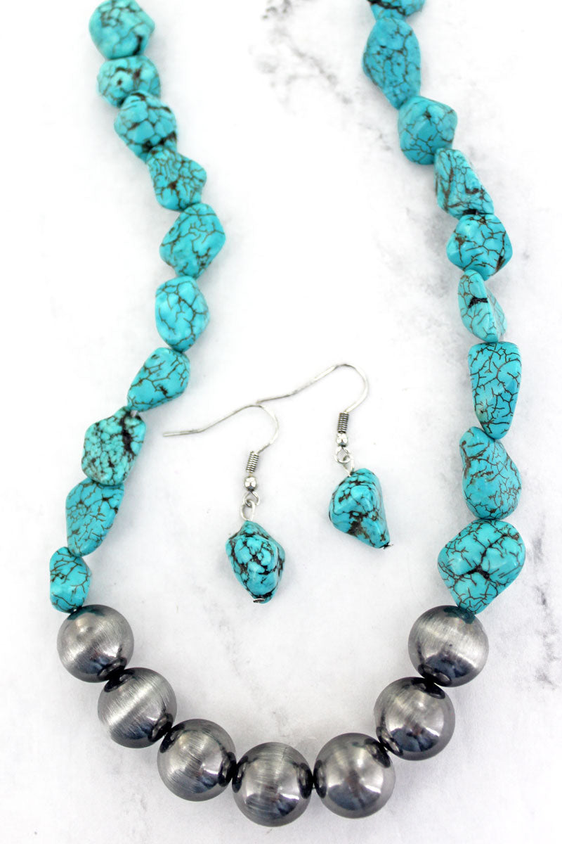Boulder Creek Turquoise and Silver Pearl Necklace and Earring Set