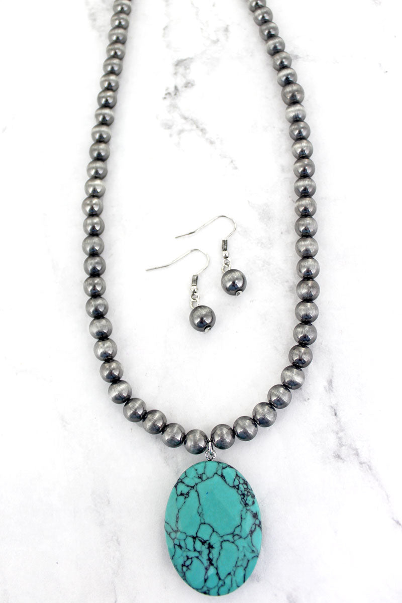 Turquoise Pendant Silver Pearl Necklace and Earring Set