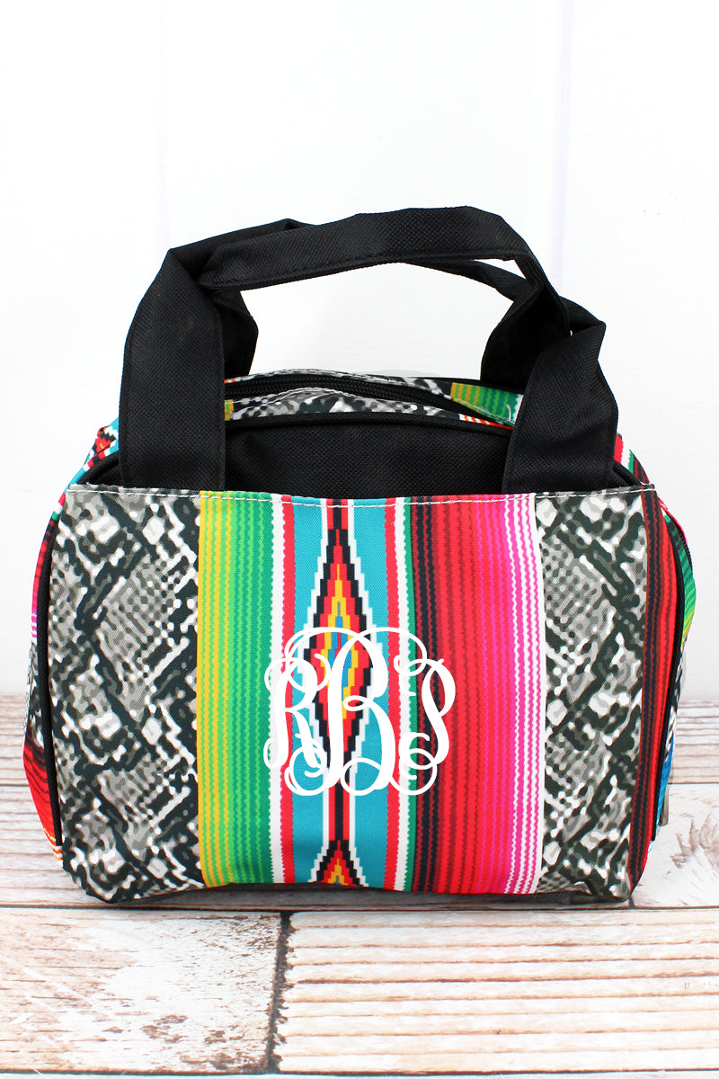 NGIL Slithering Serape Insulated Bowler Style Lunch Bag with Black Trim