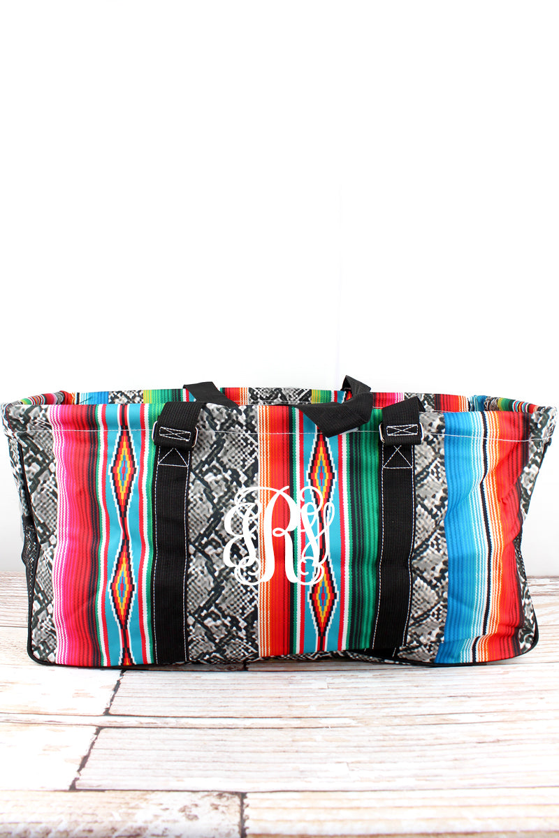 NGIL Slithering Serape with Black Trim Collapsible Haul-It-All Basket with Mesh Pockets