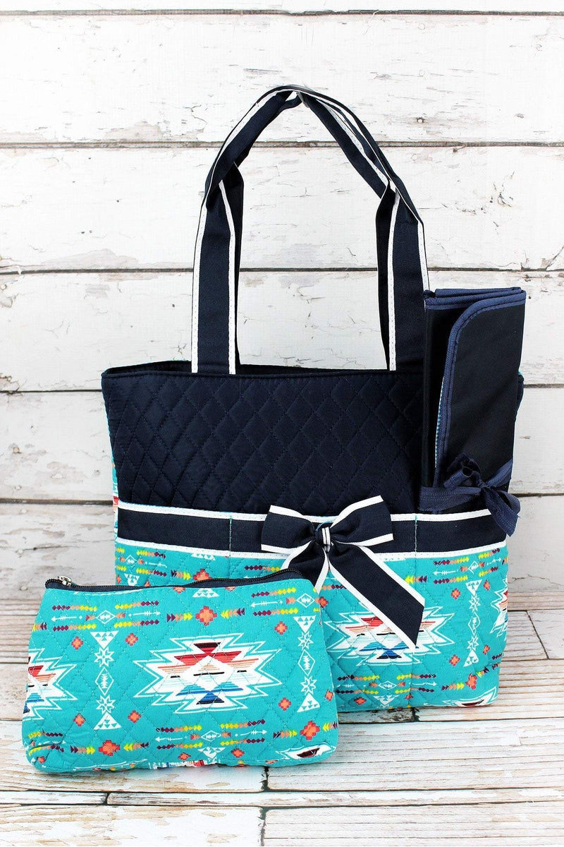 NGIL Santa Fe Sunrise Quilted Diaper Bag with Navy Trim