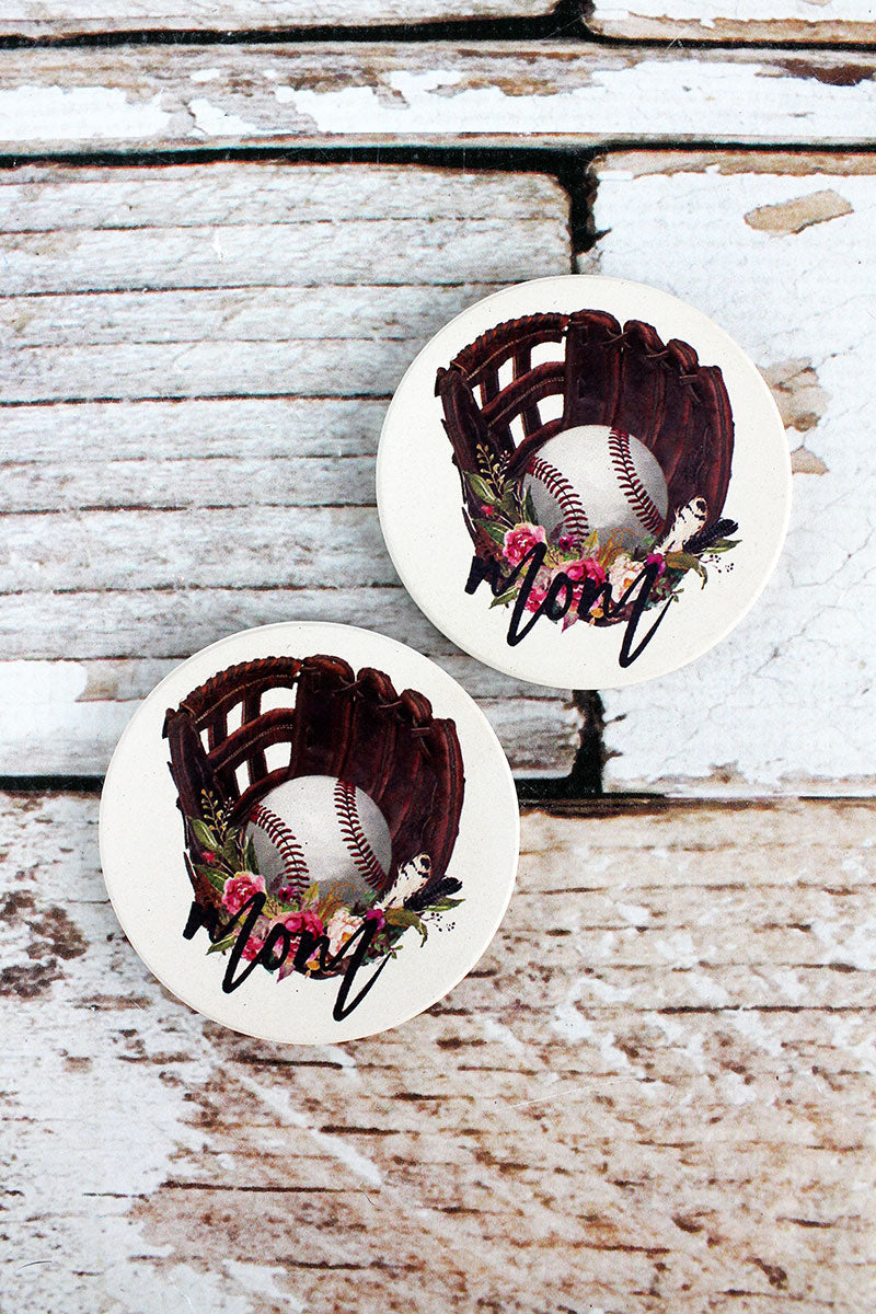 2 Piece Baseball Mom Car Coaster Set