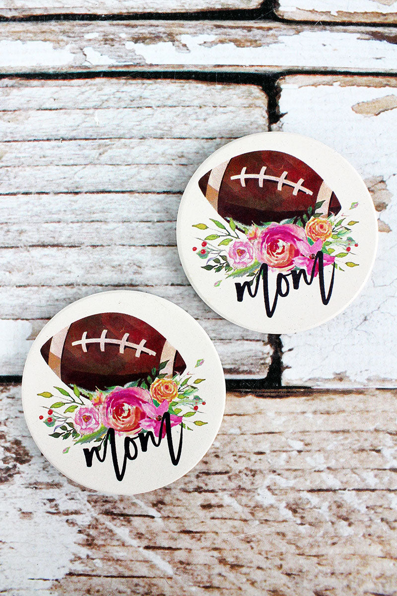2 Piece Football Mom Car Coaster Set
