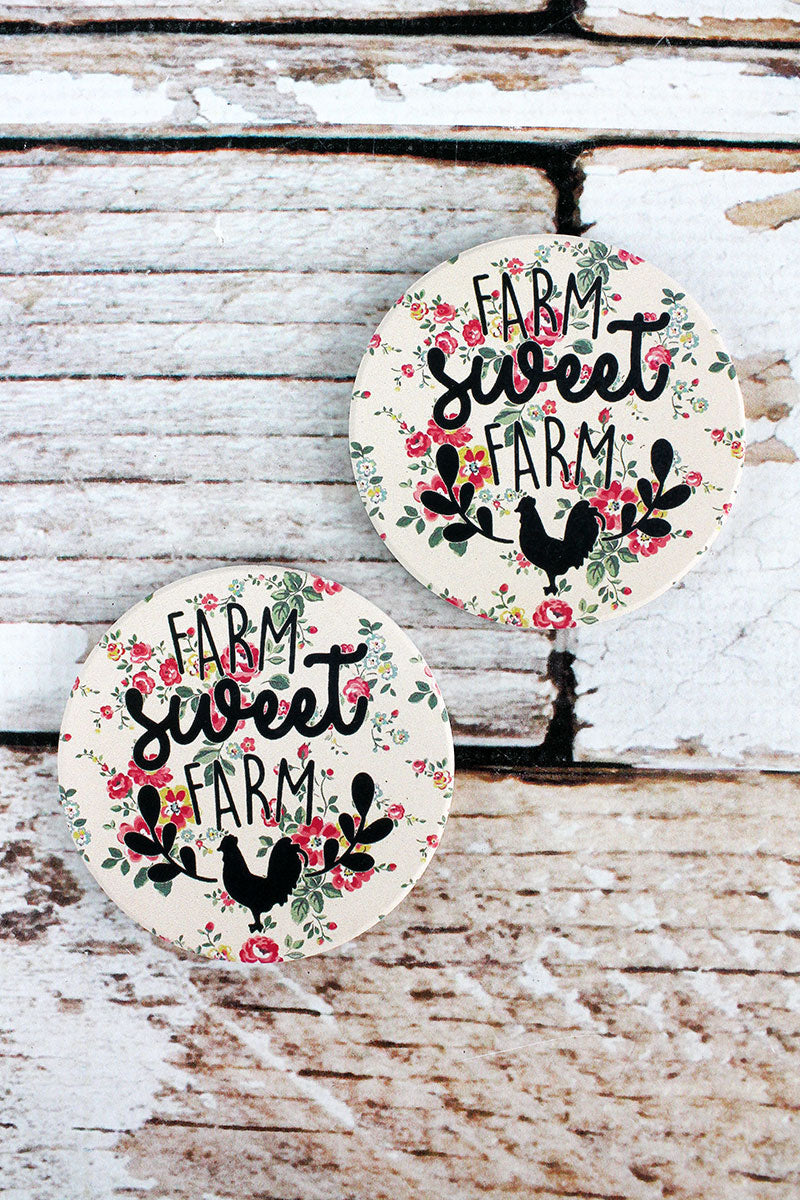 2 Piece Pale Pink 'Farm Sweet Farm' Floral Car Coaster Set