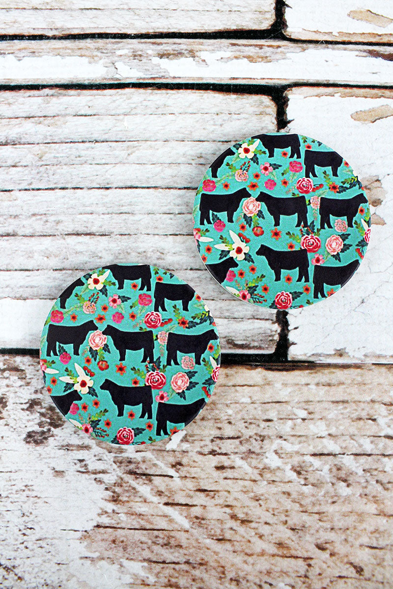 2 Piece Cow Silhouette Floral Car Coaster Set