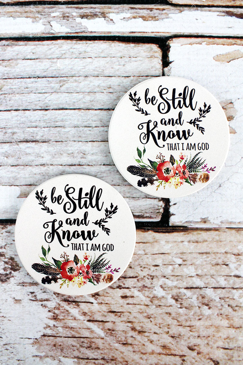 2 Piece Be Still And Know Car Coaster Set