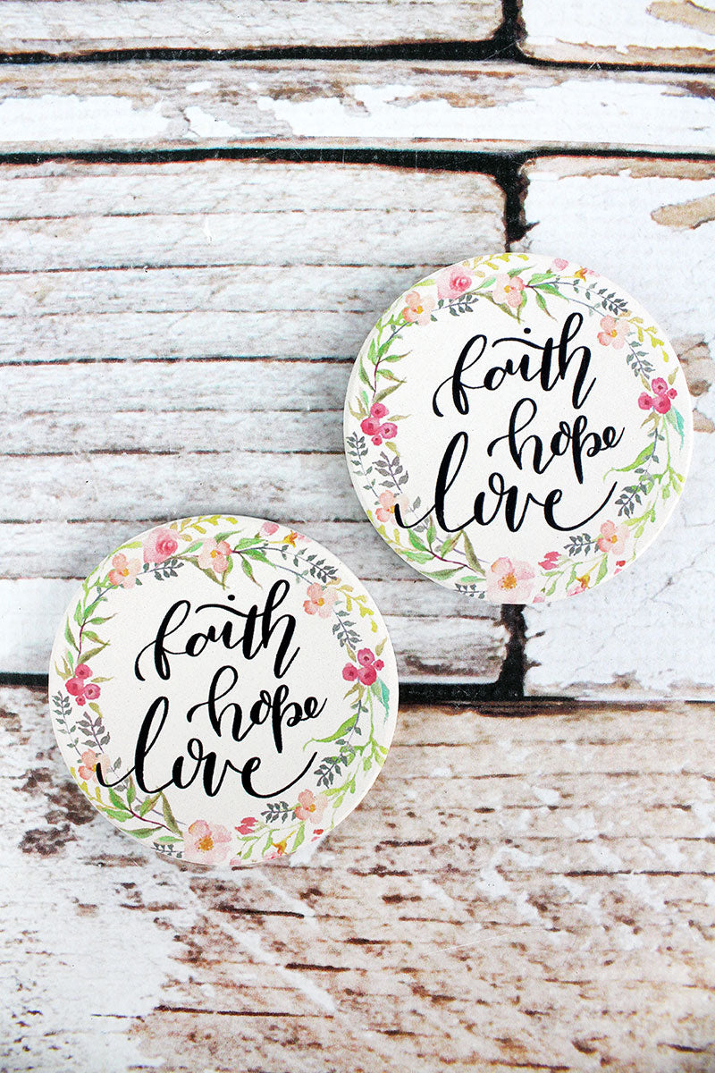 2 Piece Faith Hope Love Car Coaster Set