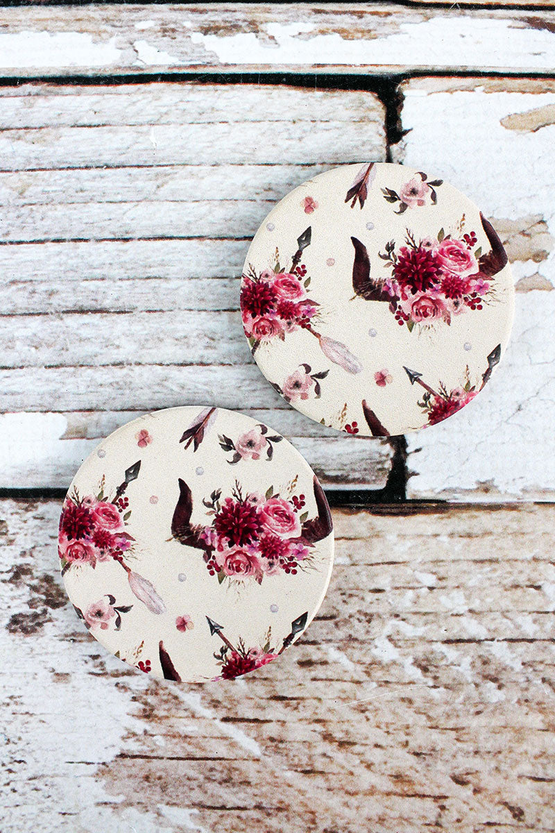 2 Piece Floral Steer Skull White Car Coaster Set