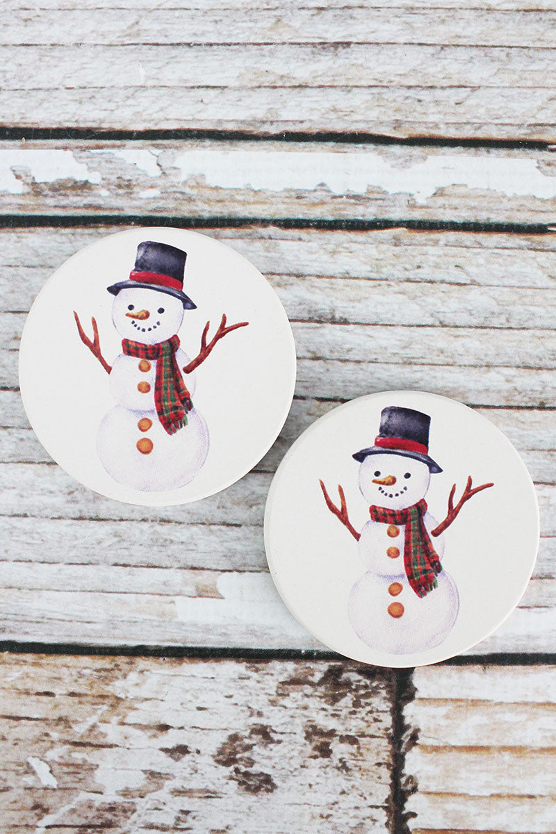 2 Piece Snowman Car Coaster Set
