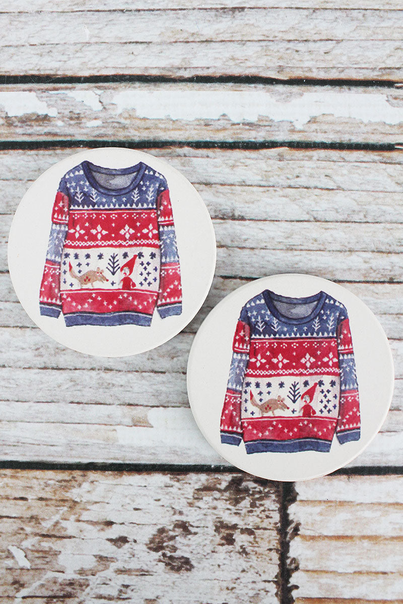 2 Piece Ugly Christmas Sweater Car Coaster Set