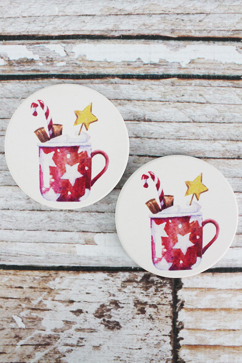2 Piece Hot Cocoa Car Coaster Set