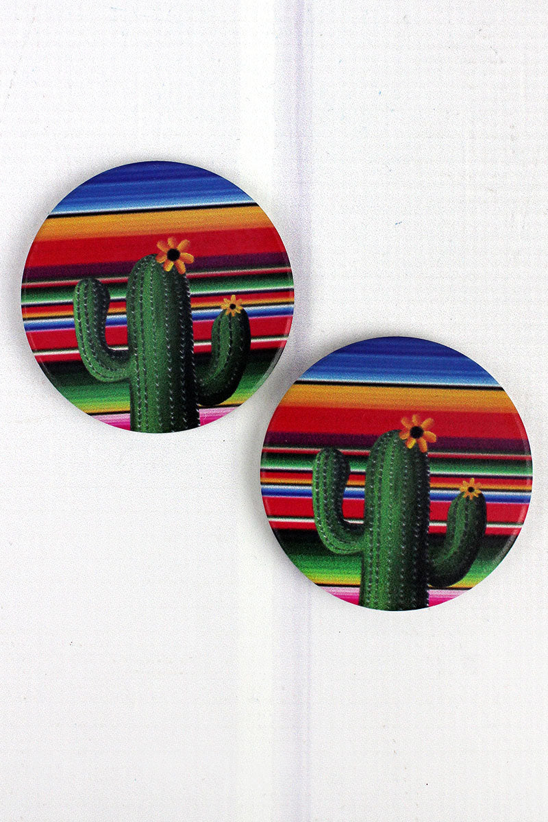2 Piece Cactus Serape Car Coaster Set