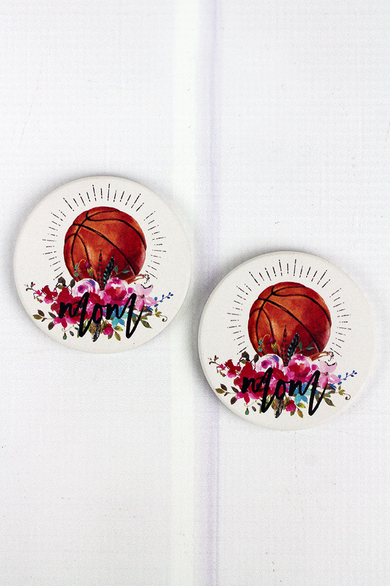 2 Piece Basketball Mom Car Coaster Set