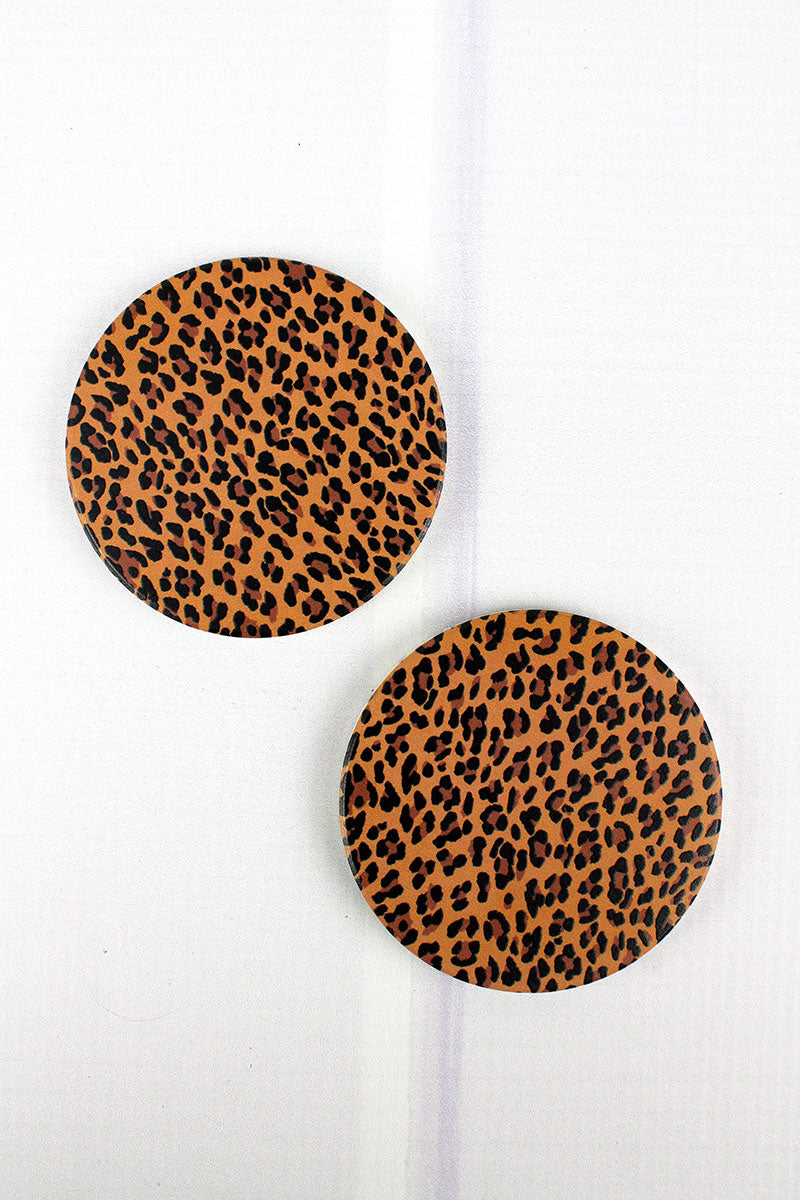 2 Piece Leopard Car Coaster Set
