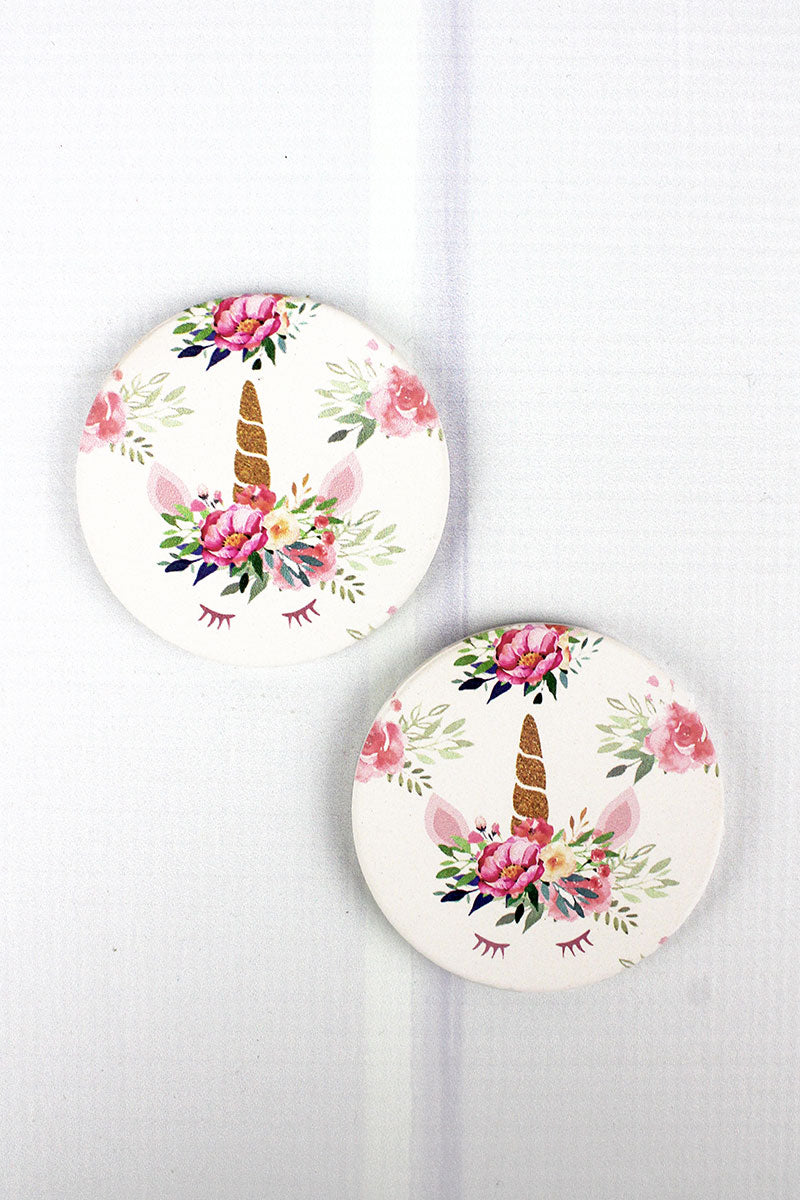 2 Piece Floral Unicorn Car Coaster Set