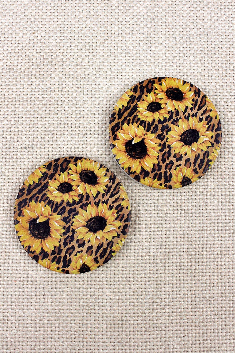 2 Piece Sunflower Leopard Car Coaster Set
